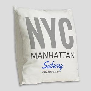 Nyc Manhattan Subway Burlap Throw Pillow