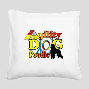 Poodle Agility Square Canvas Pillow