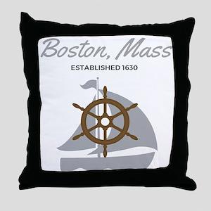 Boston Mass Established 1630 Throw Pillow