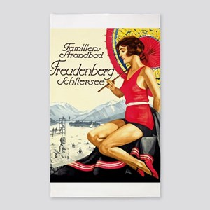 German Bathing Suit Vintage Poster Area Rug