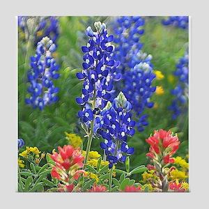 A Bluebonnet Among Wildflowers Tile Coaster