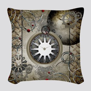 Steampunk, clocks and gears Woven Throw Pillow