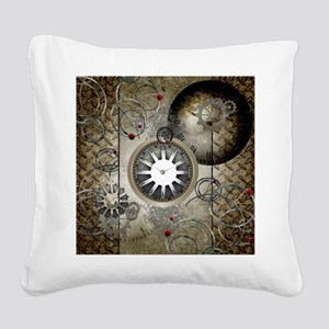 Steampunk, clocks and gears Square Canvas Pillow