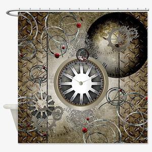 Steampunk, clocks and gears Shower Curtain