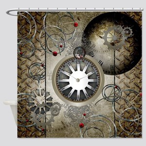 Steampunk Clocks And Gears Shower Curtain