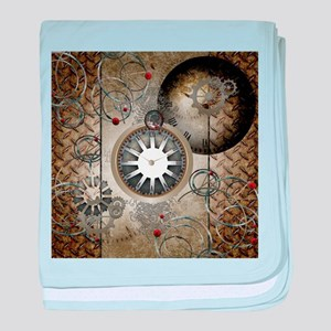 Steampunk, clocks and gears baby blanket