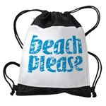 Beach Please Drawstring Bag