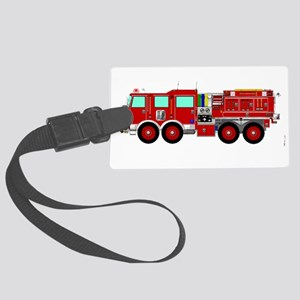 Red Brush Fire Truck Large Luggage Tag