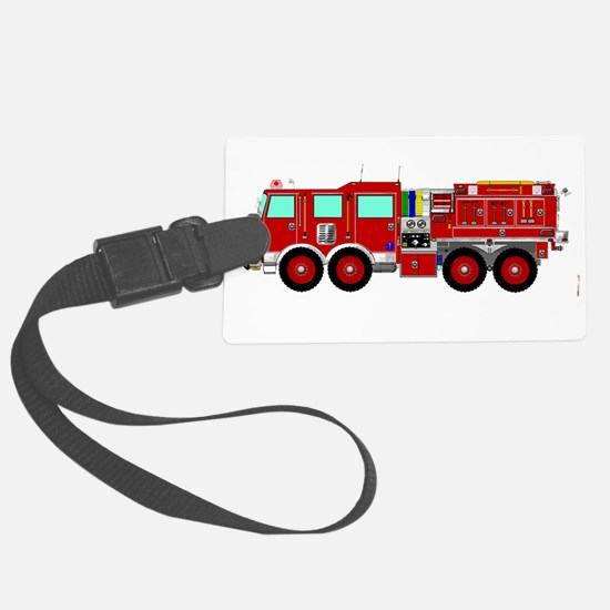 Red Brush Fire Truck Luggage Tag