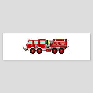 Red Brush Fire Truck Bumper Sticker