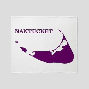 Nantucket Island - Plum Throw Blanket