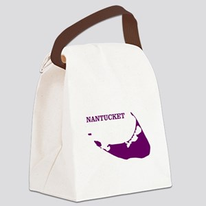 Nantucket Island - Plum Canvas Lunch Bag