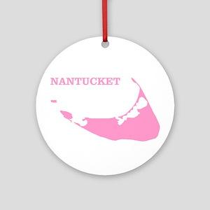 Nantucket Island - Pink Round Ornament