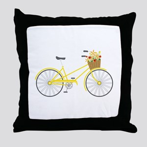 Bicycle Flowers Throw Pillow