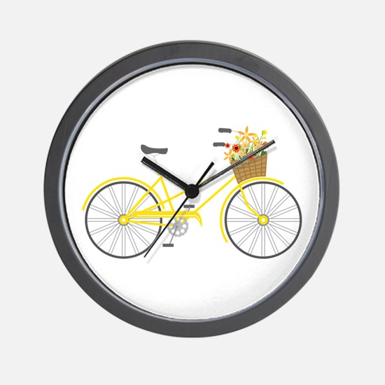 Bicycle Flowers Wall Clock