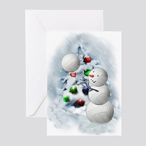 Volleyball Snowman xmas Greeting Cards
