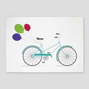 Bicycle Balloons 5'x7'Area Rug
