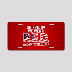 On Friday We Wear RED Aluminum License Plate