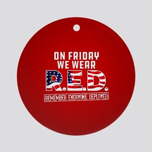 On Friday We Wear RED Round Ornament