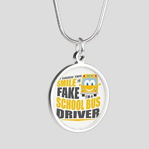 School Bus Driver Silver Round Necklace