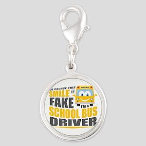 School Bus Driver Silver Round Charm