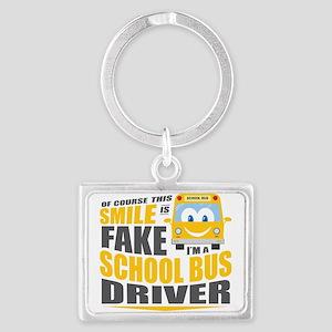 School Bus Driver Landscape Keychain