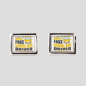 School Bus Driver Rectangular Cufflinks