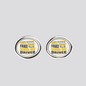 School Bus Driver Oval Cufflinks