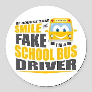 School Bus Driver Round Car Magnet
