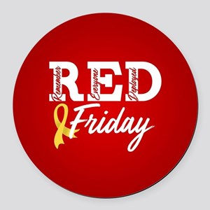 On Friday We Wear RED Round Car Magnet