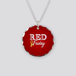On Friday We Wear RED Necklace Circle Charm
