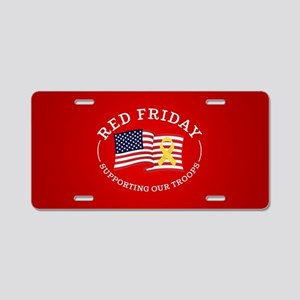 RED Friday American Flag Aluminum License Plate