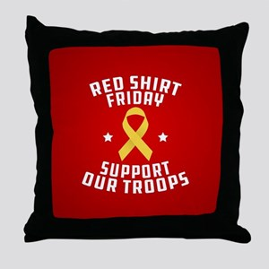 RED Shirt Friday Support Our Troops Throw Pillow