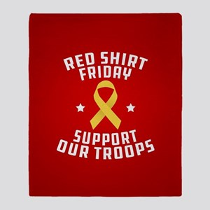RED Shirt Friday Support Our Troops Throw Blanket