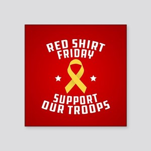 "RED Shirt Friday Support Ou Square Sticker 3"" x 3"""
