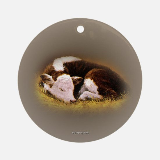 Hereford Calf Ornament (Round)