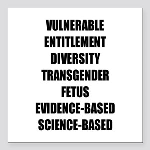 """Banned Terms Square Car Magnet 3"""" x 3"""""""
