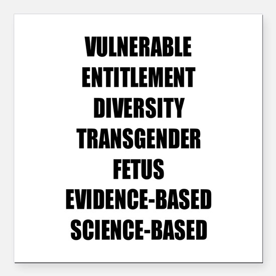 "Banned Terms Square Car Magnet 3"" x 3"""