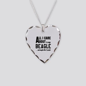 All I care about is my Beagle Necklace Heart Charm