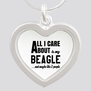 All I care about is my Beagl Silver Heart Necklace