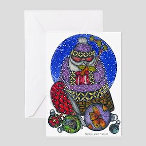 Santa and Ornaments Greeting Card