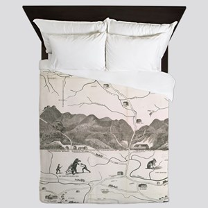 Vintage Map of The White Mountains (18 Queen Duvet