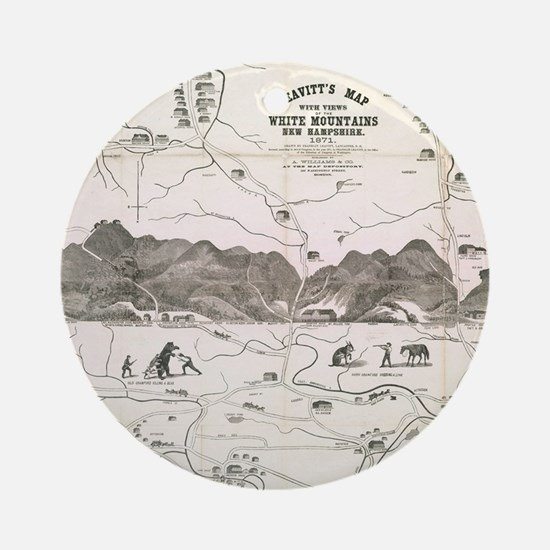 Vintage Map of The White Mountains Round Ornament