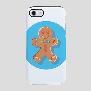 Blue Circle Gingerbread Man iPhone 8/7 Tough Case