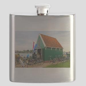 Bicycles, Dutch windmill village, Holland Flask