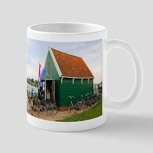 Bicycles, Dutch windmill village, Holland Mugs