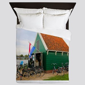 Bicycles, Dutch windmill village, Holl Queen Duvet