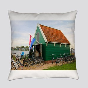 Bicycles, Dutch windmill village, Everyday Pillow