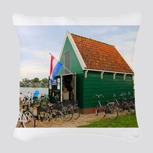 Bicycles, Dutch windmill villa Woven Throw Pillow