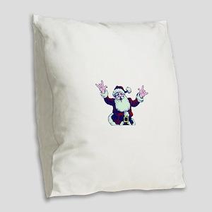 ILY ASL Santa Burlap Throw Pillow